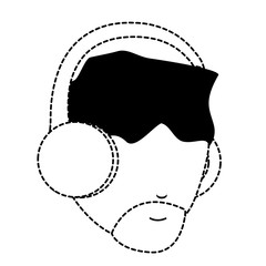 avatar man with beard and using a headphones over white background, vector illustration