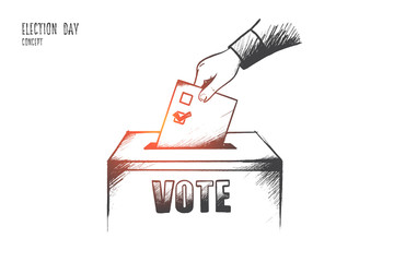 Election day concept. Hand drawn hand of person deliver their vote. Ballot at the polling station isolated vector illustration.