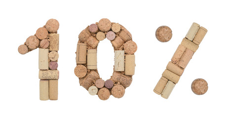 Number ten 10%  percent made of wine corks Isolated on white background