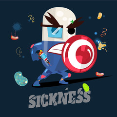 Medicine hero, pill character with shield to pretect you from sickness. healthcare concept - vector