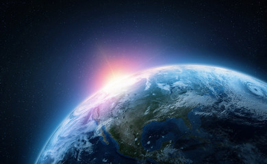 Planet Earth. View from space orbit. Photorealistic illustration. Elements of this image are furnished by NASA