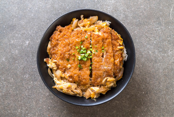 fried pork cutlet rice bowl (Katsudon)