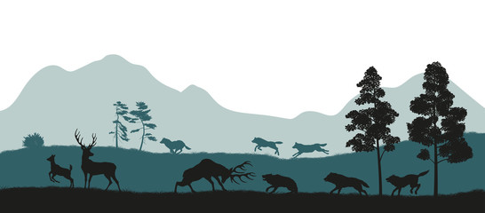 Black silhouettes of forest animals. Flock of wolves hunts a deer. Isolated landscape. Wildlife scene