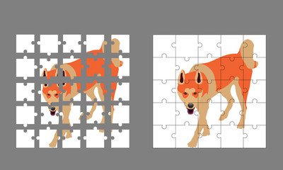 dog puzzle. beautiful colorfull dog in vector illustration