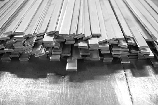 stack of steel flat bar