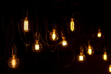 Garland of vintage electric lamps