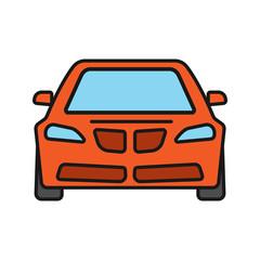 Car front view color icons set