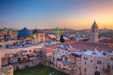 Jerusalem. Cityscape image of old town of Jerusalem, Israel at sunrise.