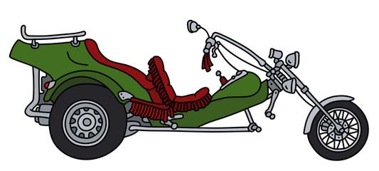 The green heavy motor tricycle