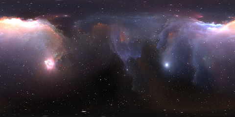 Fototapete - 360 Equirectangular projection. Space background with nebula and stars. Panorama, environment map. HDRI spherical panorama.