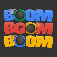 boom bomb. multicolored 'boom' lettering with grunge texture on black background. three small black round bomb with a lighted wick. poster, ticket design, t-shirt print and others