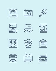 Outline Household electronic appliances, technics, gadget device icons for web and mobile design pack 4