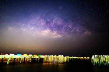 Milky way at the sea in dark night
