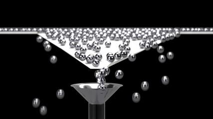 3D rendering of Balls arrange and funnel conversion rate concept, 3d illustration