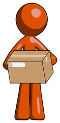 Orange Design Mascot Man holding box sent or arriving in mail