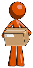 Orange Design Mascot Woman holding box sent or arriving in mail