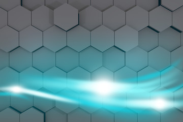Bright blue streams of energy glowing. 3d rendering.