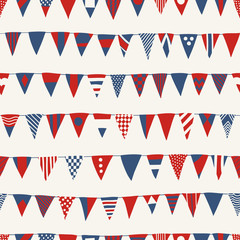 Nautical Seamless Pattern with Red and Navy Vessel Signal Flags