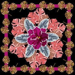 Square flower arrangement. Pattern for printing on scarves, postcards, carpets, bandanas, napkins, home textiles.Tropical design.Can be used as a seamless pattern.