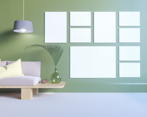 Poster over the cupboard with utensils, minimalism, interior, background, 3D rendering, 3D illustrations
