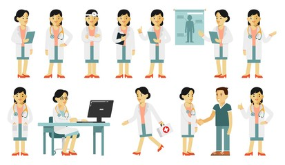 Medicine people character set in flat style isolated on white background. Practitioner young doctor woman in different poses and situations. Medical staff.
