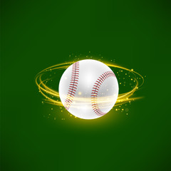 Flying Baseball Ball with Yellow Sparkles on Green Background