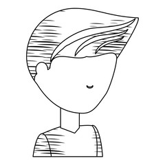 sketch of avatar young man icon over white background vector illustration