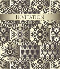 Patchwork vintage pattern. Original design for cards or invitation