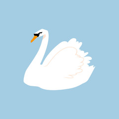 White bird. Feathered in a flat style isolated on a white background.
