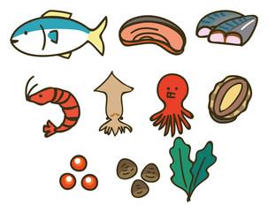 魚介類のイラスト素材セット