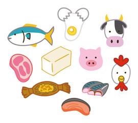 たんぱく質を多く含む食品のイラスト素材セット