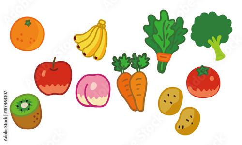 野菜と果物のイラスト素材セット Stock Image And Royalty Free Vector