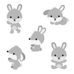 Cute cartoon rabbits in flat style.