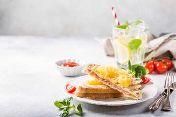 Hot fresh hawaii toast sandwich with ham, pineapple, tomato and cheese. Healthy summer food concept with copy space.