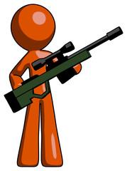 Orange Design Mascot Man holding sniper rifle gun
