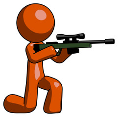 Orange Design Mascot Man kneeling shooting sniper rifle