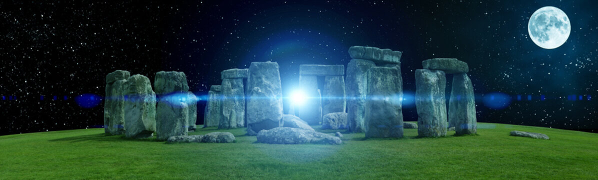 Magic Stonehenge with moon