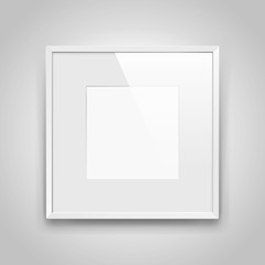 Realistic empty squre white frame with passepartout on gray background, border for your creative project, mock-up sample, picture on the wall, vector design object