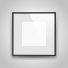 Realistic empty squre black frame with passepartout on gray background, border for your creative project, mock-up sample, picture on the wall, vector design object