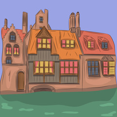 Vector. Old medieval house.