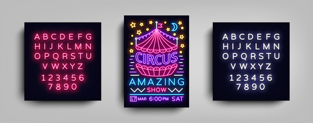 Circus poster design template in neon style. Circus Neon sign, tent, light banner, brochure, neon flyer, bright nightlife of Circus show. Amazing show. Vector illustration. Editing text neon sign