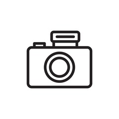 digital camera  outlined vector icon. Modern simple isolated sign. Pixel perfect vector  illustration for logo, website, mobile app and other designs