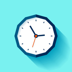 Polyhedron Clock in flat style, watch on blue background. Business icon for you presentation. Vector design object