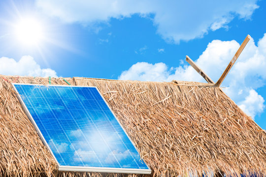 Solar Panel to give Electricity Power to Rural Villages Concept