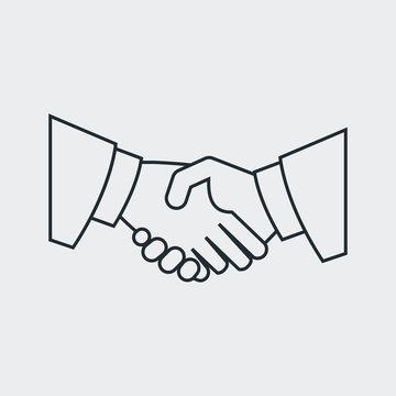 Icono plano manos unidas lineal en fondo gris