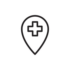 hospital location outlined vector icon
