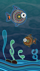 Aboriginal dot art painting with fish. Underwater concept, Portrait background wallpaper vector