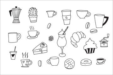 Doodle hand drawn with Coffee icons doodle set. vector illustration.