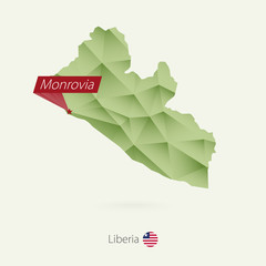 Green gradient low poly map of Liberia with capital Monrovia