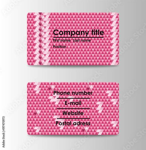 business card template vector illustration triangular mosaic
